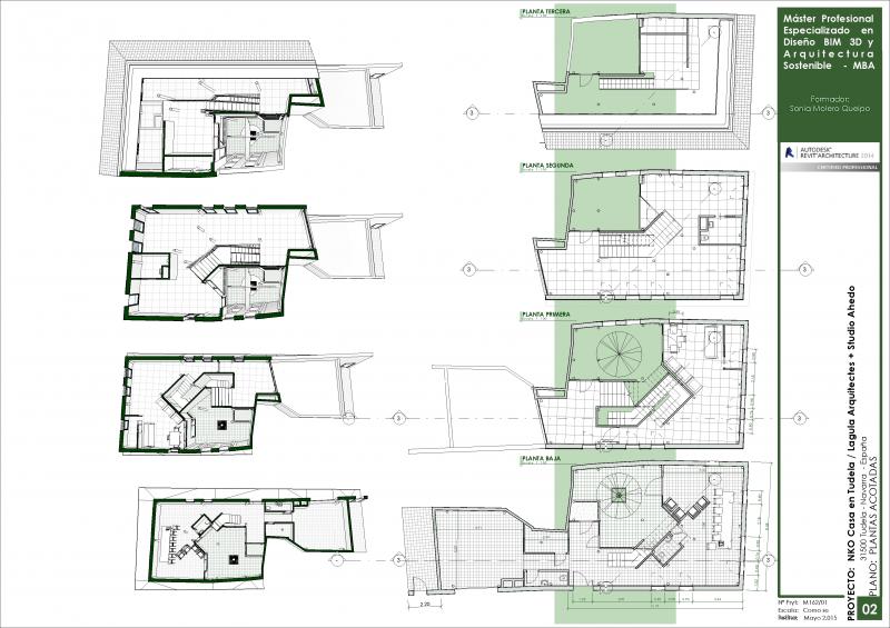Proyecto con metodología BIM. Plantas acotadas Casa en Tudela