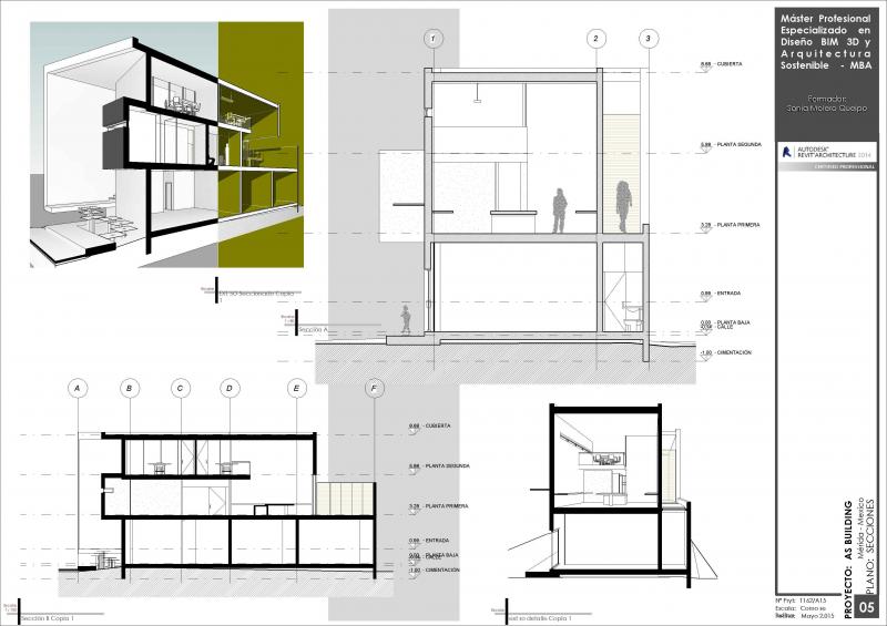 Proyecto en Revit. Secciones Casa en Tudela