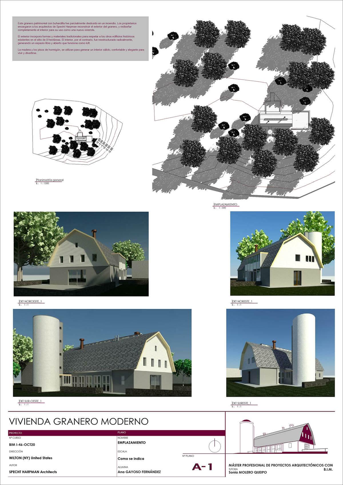 Plano de vistas 3D. Proyecto Revit