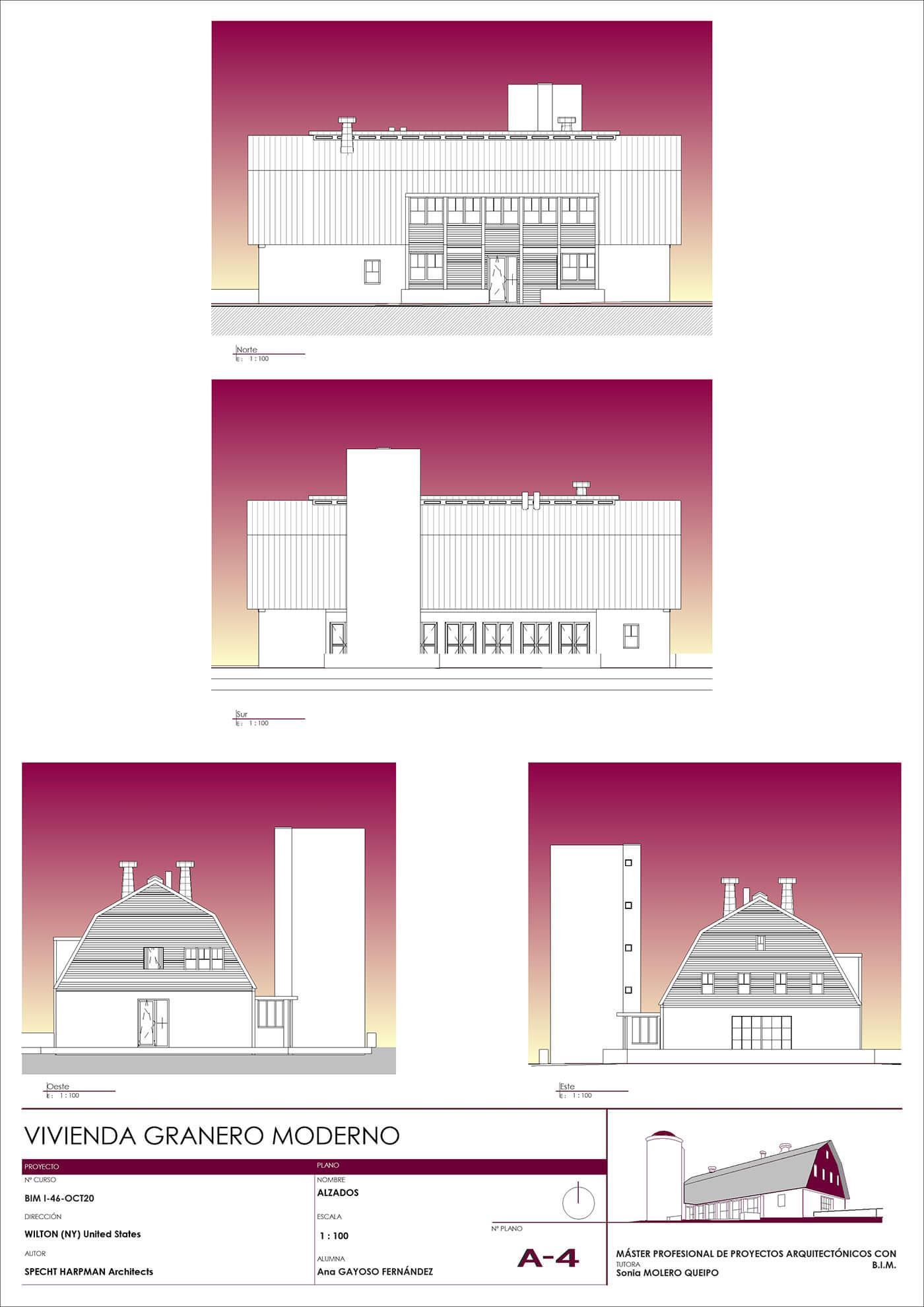 Alzados de Granero. Proyecto en Revit Architecture